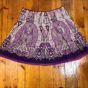 3/$27 Alfani Purple Paisley Boho Hippie Skirt